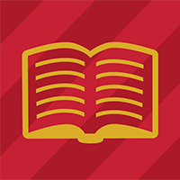 Gold book on red background