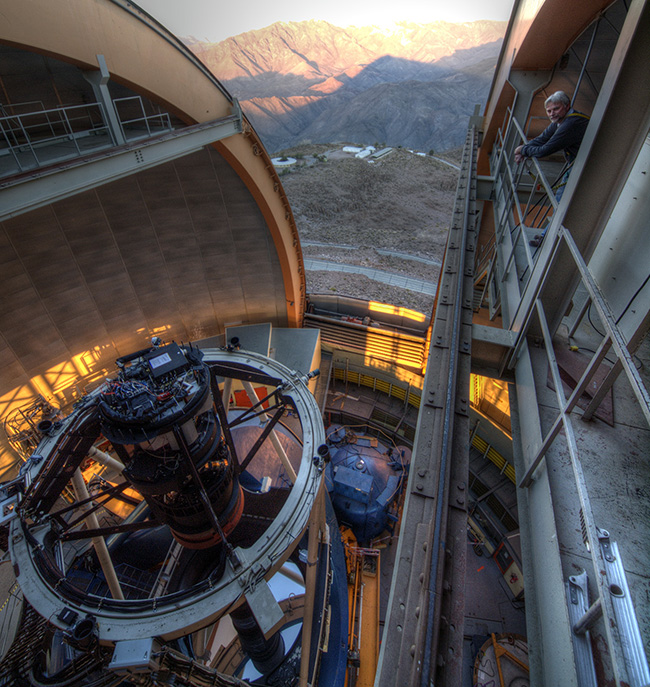 Physics Professor Klaus Honscheid in the dome of the telescope where the Dark Energy Camera is mounted (T. Abbott, CTIO)
