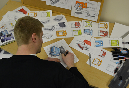 Design Student sketching Juiceboxx project concepts