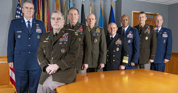 Members of the Joint Chiefs of Staff are photographed in the Joint Chiefs of Staff conference room in the Pentagon, Dec. 11, 2020.
