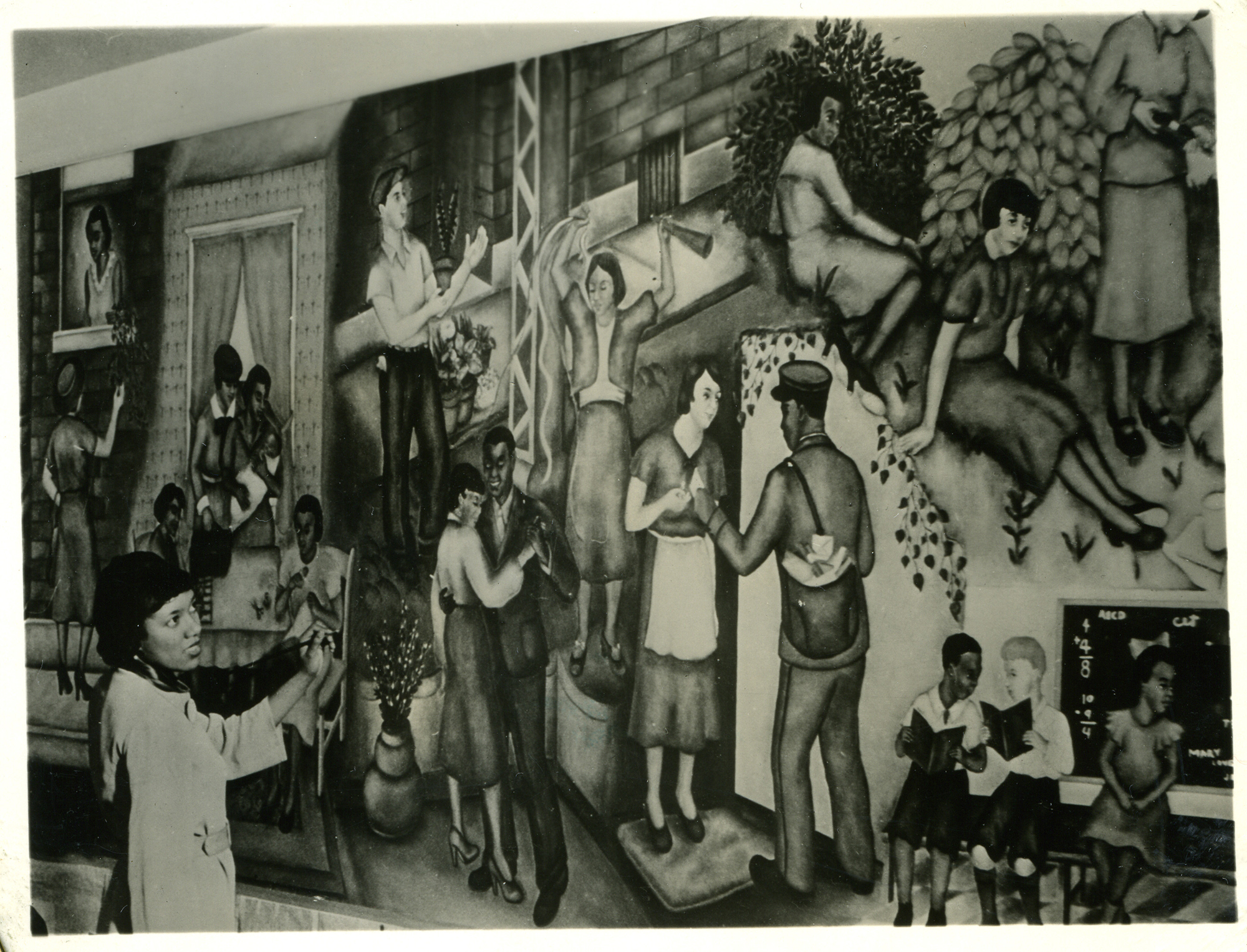 Georgette Seabrooke working On Her WPA Federal Art Project mural, Recreation In Harlem, for the Nurses' Recreation Room in Harlem Hospital. NARA ARCHIVES/SHUTTERSTOCK
