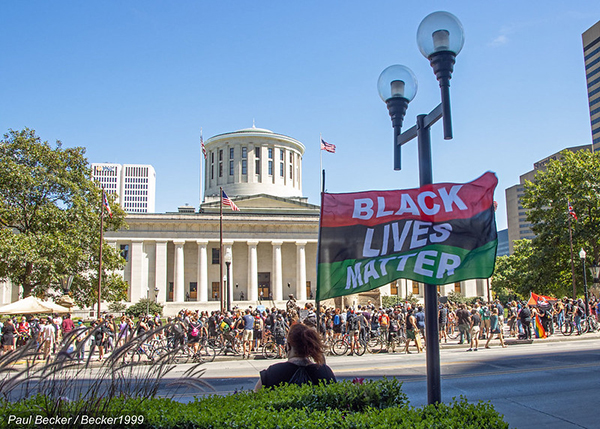 Black Lives Matter protesters gather outside the Ohio Statehouse in downtown Columbus. Photo courtesy Paul Becker/Becker1999