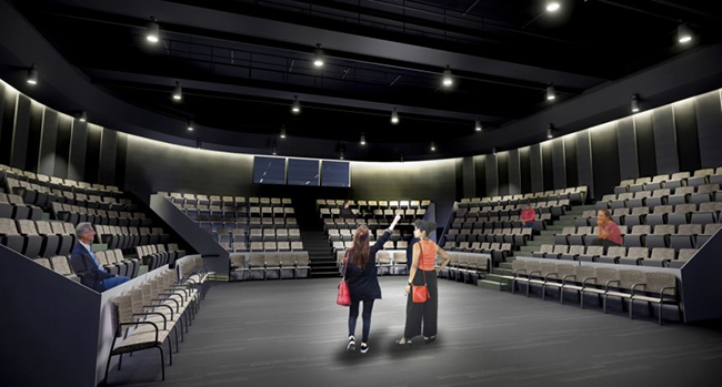 The Department of Theatre's new building will include a thrust stage, in addition to black box and proscenium stages.