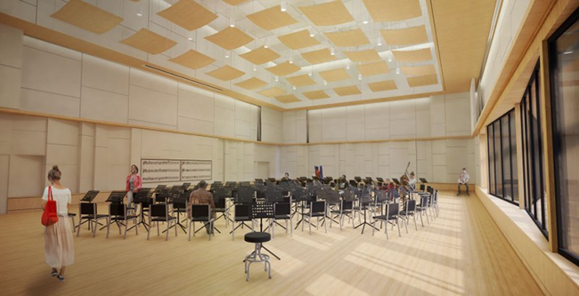 "Weigel Hall renovations will include new rehearsal spaces and recital halls."" title=""Weigel Hall renovations will include new rehearsal spaces and recital halls."