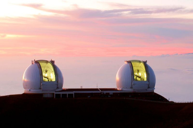 The Keck Observatory, a two-telescope observatory near the summit of Mauna Kea in Hawaii.