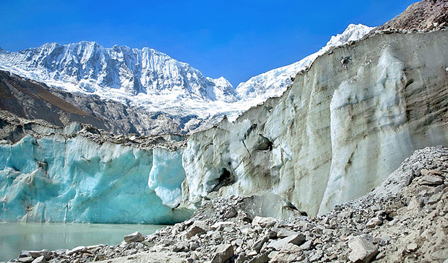 The Llaca glacier, which is nestled in the Andes' Cordillera Blanca mountain range in Peru.