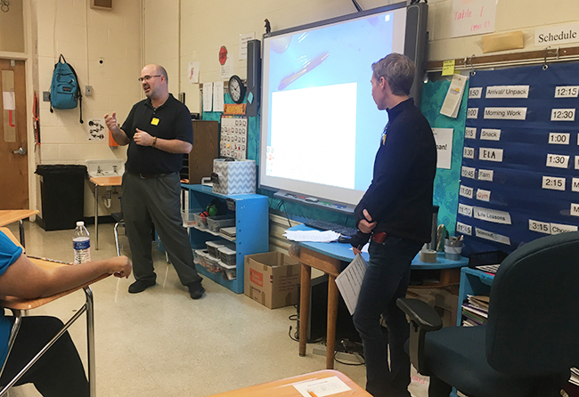 Matt and Nikki Swift teaching students at Bridgeway Academy about storyboarding and film composition.