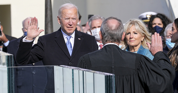 Joe Biden takes the oath of office as the 46th President of the United States.