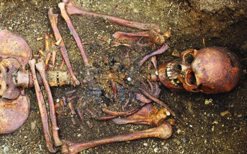 Photo of human skeleton in dirt