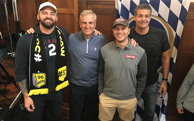 From left: ESPN Radio's Mike Golic Jr., ESPN Radio's Trey Wingo, Murray and ESPN Radio's Mike Golic.