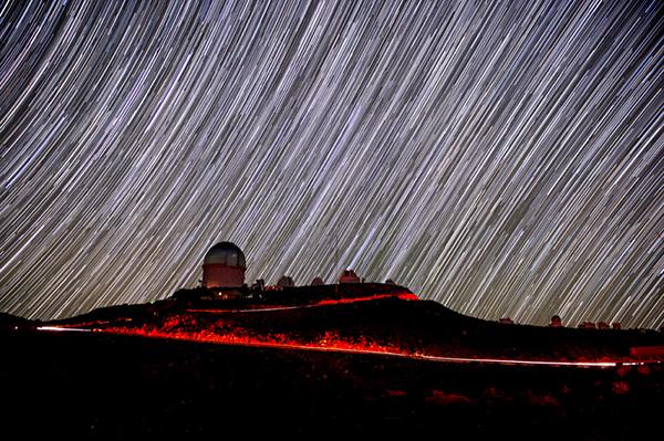 Cerro Tololo, Blanco Telescope dome and star trails