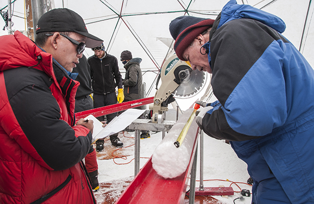 Yao and Lonnie processing ice cores