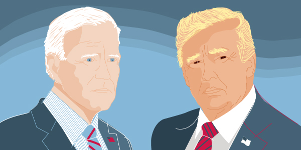 Illustration of President Donald Trump and former Vice President Joe Biden.