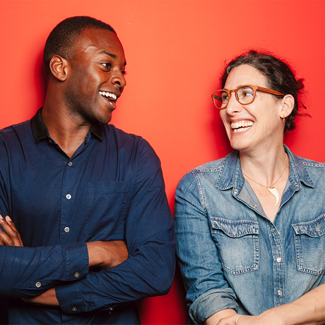 """Serial"" host Sarah Koenig (right) and co-host and reporter Emmanuel Dzotsi (left). Photo credit Sandy Honig."