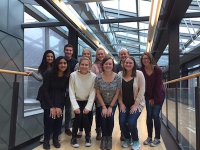 Vaidya (front left) poses with other Ohio State students at NTNU
