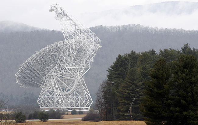 The Green Bank Telescope, the world's largest fully steerable radio telescope, in Green Bank, West Virginia.