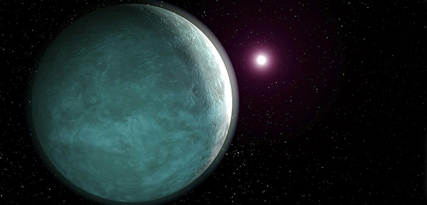 Artist's rendering of HAT-P-26 b, an exoplanet characterized as a sub-Neptune.