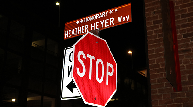 A street sign memorializing counterprotester Heather Heyer, who was murdered in Charlottesville, Virginia during the white supremacist Unite the Right rally in August 2017.