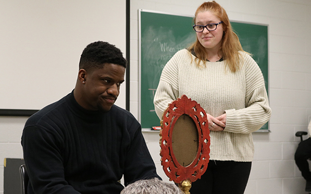 Sterling Wesley and second-year theatre and linguistics major Shaciah Lee at rehearsal.