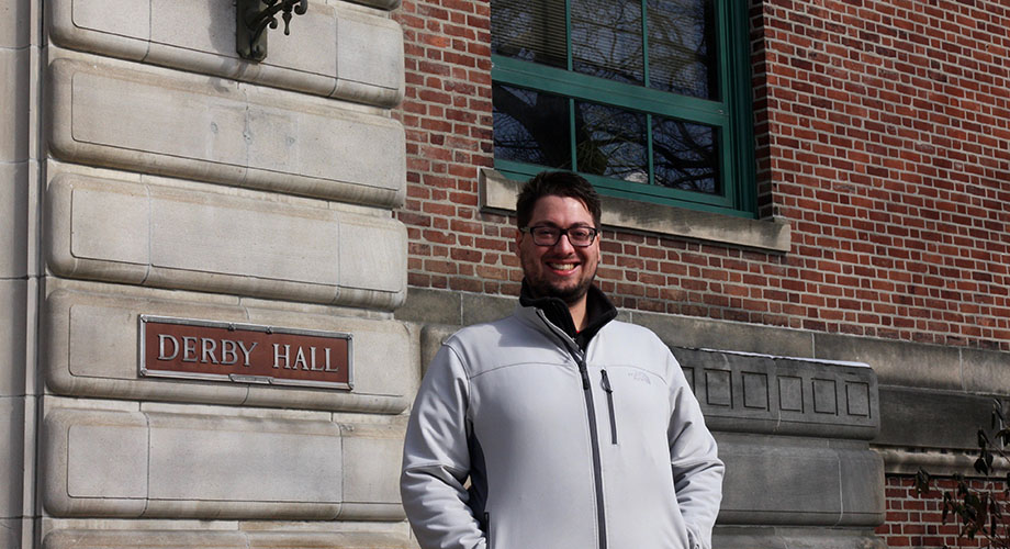 Joe in front of Derby Hall