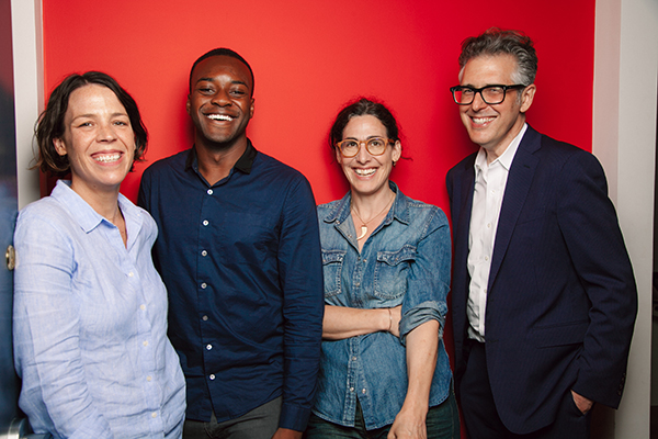 "From left: executive producer and Julie Snyder, Emmanuel Dzotsi, host Sarah Koenig and ""This American Life"" creator Ira Glass. Photo credit Sandy Honig."