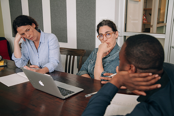 """Serial"" executive producer Julie Snyder (left), host Sarah Koenig (middle) and co-host and reporter Emmanuel Dzotsi. Photo credit Sandy Honig."