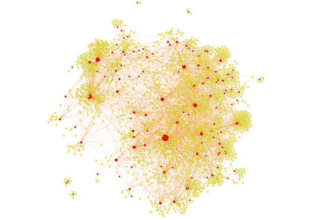 Recreation of the darknet drug market network. Red dots are vendors, yellow ones are buyers. Larger dots have engaged in more transactions. Imgage courtesy Scott Duxbury