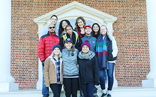 Associate history professor Hasan Jeffries and his students at James Madison's Montpelier. Photo credit Karla Haddad.