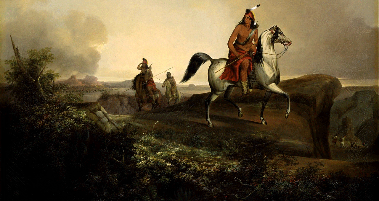 Painting of Native Americans riding horses