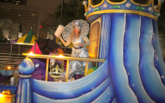 Karen Boudrie Greig in the New Orleans Mardi Gras parade as goddess of the Mystic Krewe of Nyx