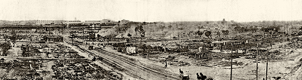 A panoramic view of the aftermath of the Tulsa Race Massacre