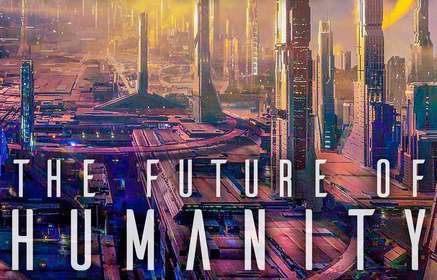 Futuristic cityscape with text