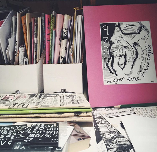 Various zines on display at Queer Zine Archive Project