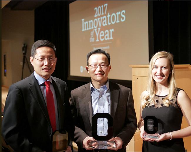 From left: Yizhou Dong, Dehua Pei, Laura McLaughlin