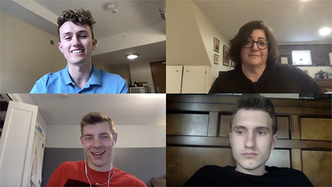 "A screenshot from the virtual production of an episode of ""Lantern Lites."" Clockwise from top left: reporter Max Garrison, Associate Professor-Clinical Nicole Kraft, reporter Owen Milnes and Kevin Lapka."