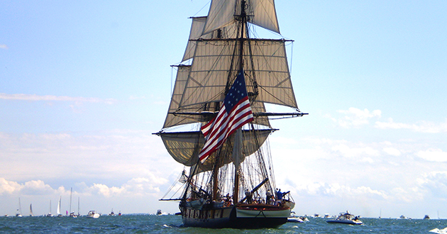 Flagship Niagara participating in the reenactment of the Battle of Lake Erie. Photo Credit: Karl Rabeneck