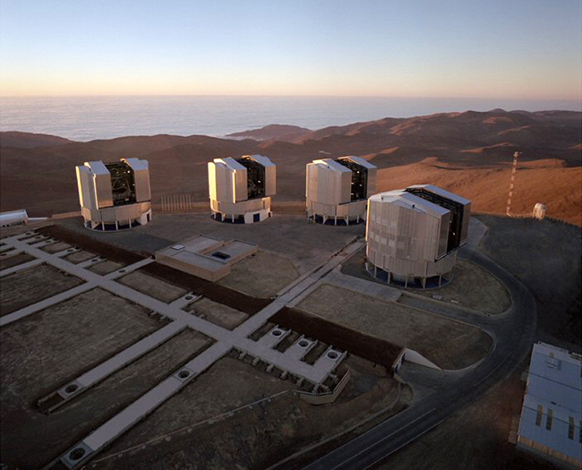 The European Southern Observatory's Very Large Telescope array on Cerro Paranal in the Atacama Desert of northern Chile.