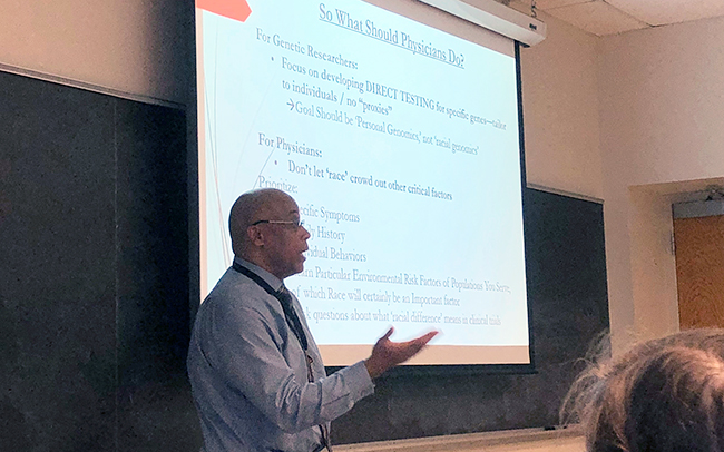 "Dr. Quinn Capers presents on racial health disparities for the course he co-taught, ""Race and Medicine."""