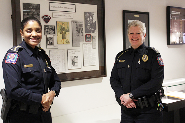 "Kimberly Spears-McNatt, left, and Tracy Hahn, right, may be making history (and headlines) as the new chief and deputy chief of The Ohio State University Police Division, but ""first, and foremost, we're police officers,"" says Hahn."