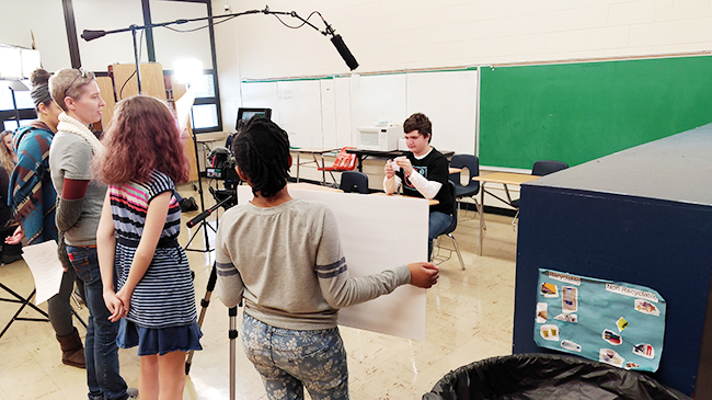 Nikki Swift, left, and Bridgeway Academy students film a scene.