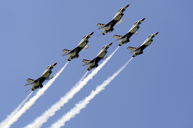 The six Thunderbirds fly in the delta formation. Photo credit U.S. Air Force.