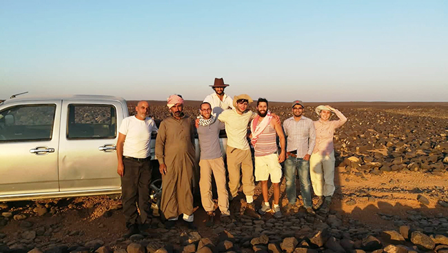 Ahmad Al-Jallad, back, and his team during an expedition to the Harrah region. Photo courtesy Ahmad Al-Jallad.