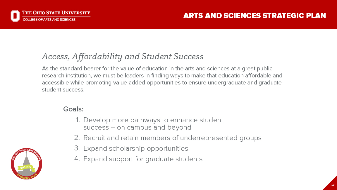 Strategic Plan Focus Area 2: Access, Affordability and Student Success