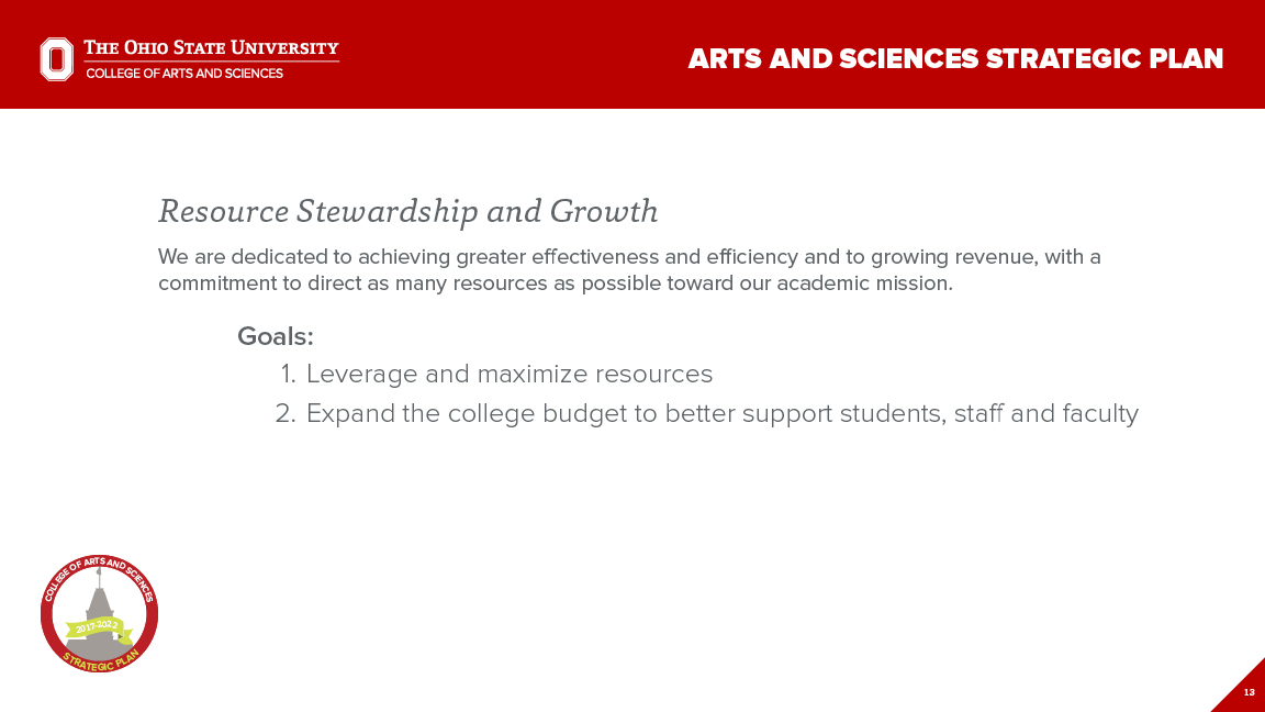 Strategic Plan Focus Area 5: Resource Stewardship and Growth