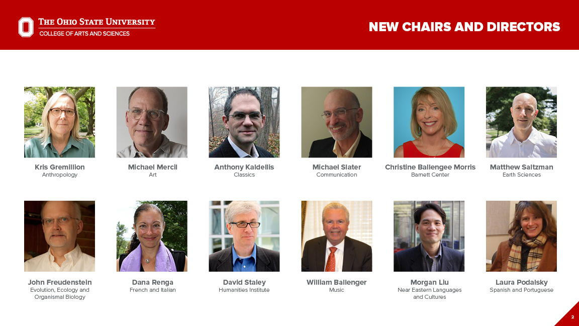Images, names and titles of new chairs and directors