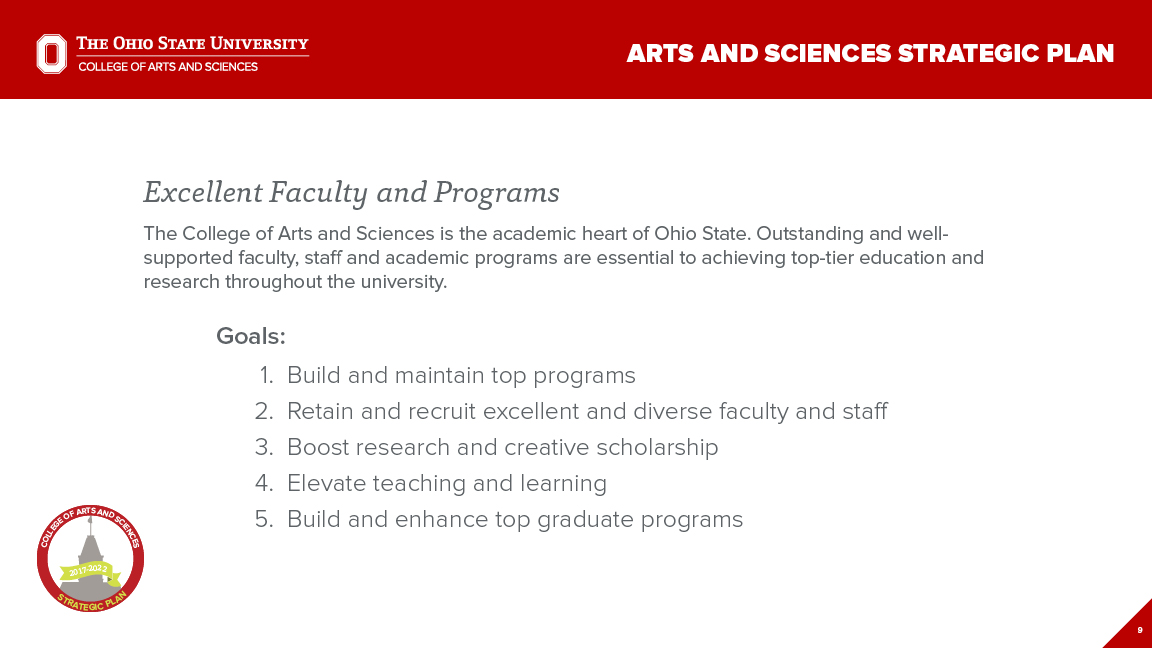 Strategic Plan Focus Area 1: Excellent Faculty and Programs