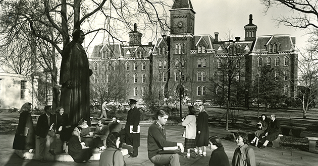Students in front of University hall, 1940's