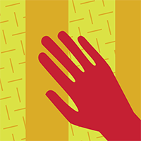 Red hand on yellow background