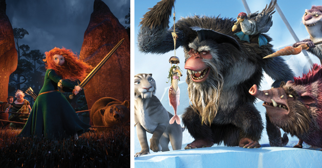 Animation stills from Brave and Ice Age.