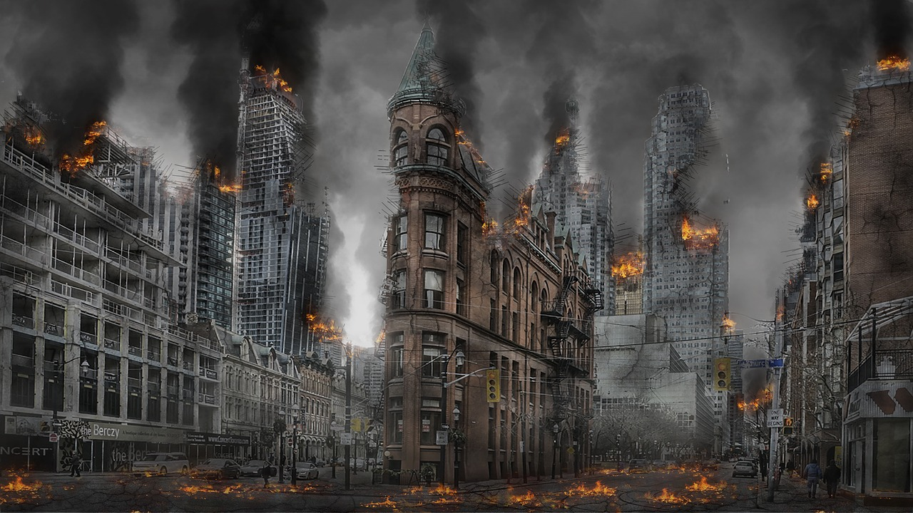 Apocalyptic image of city burning